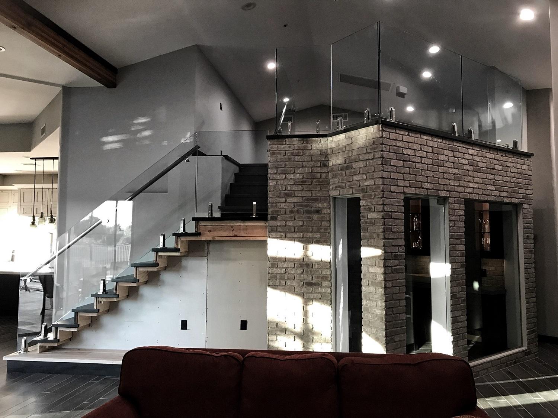 Custom Glass Railing on Custom Home Staircase