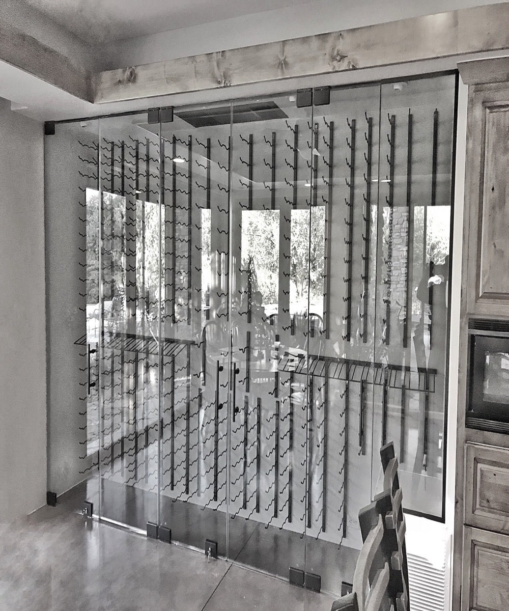 Wine Display Case Sliding Doors Custom Glass Shop Work