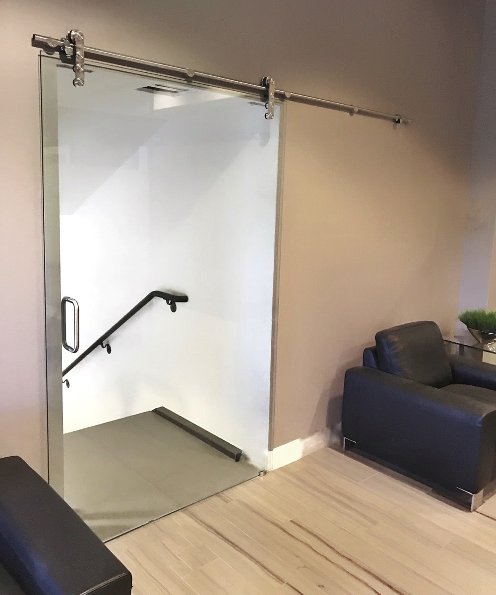 Custom Glass Office Door - Sliding