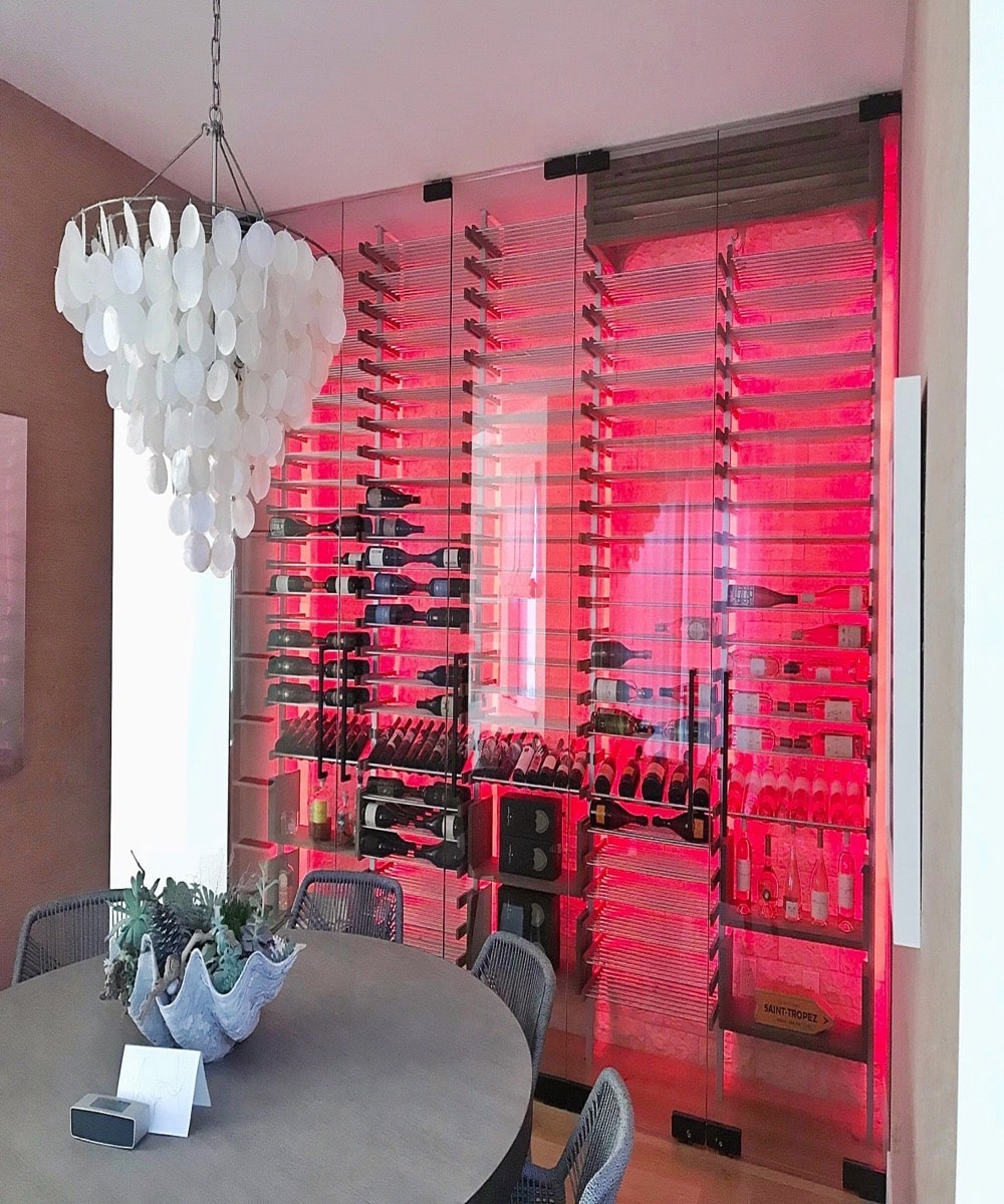 Red Backlight Custom Wine Rack Display