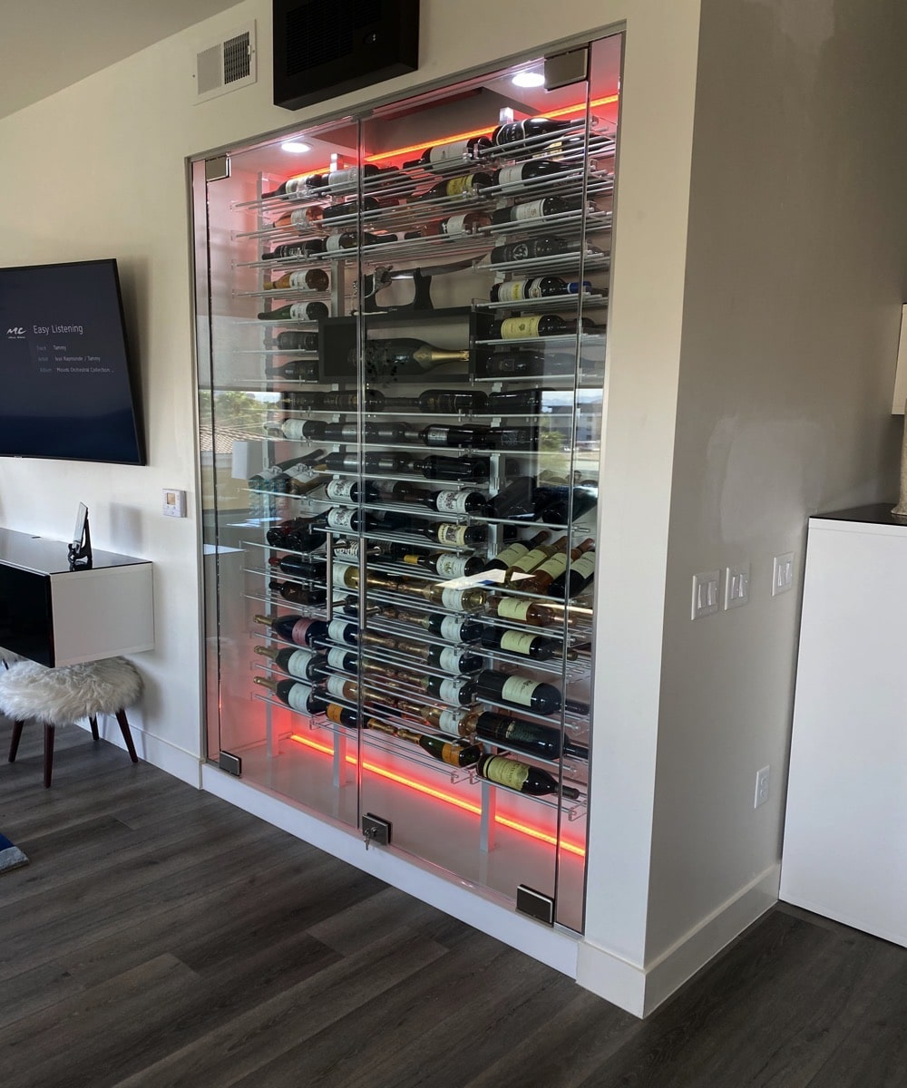 Sliding Glass Door Wine Rack Display