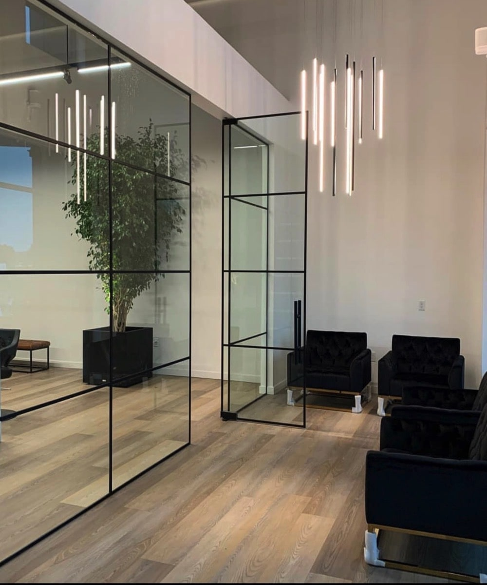 Large Glass partitioned Wall with Glass Door