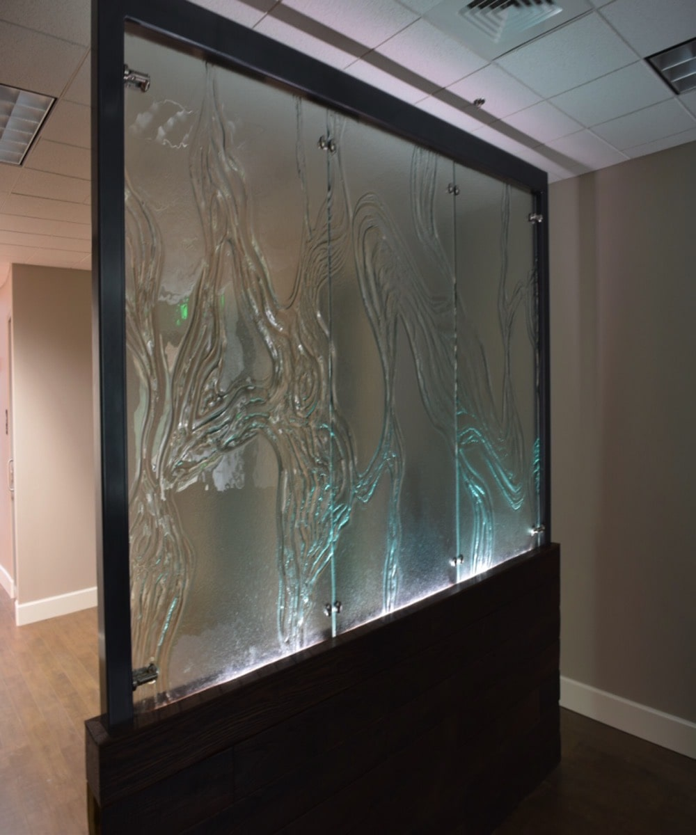 Large Custom Glass Partition - Pretty Design - Backlight